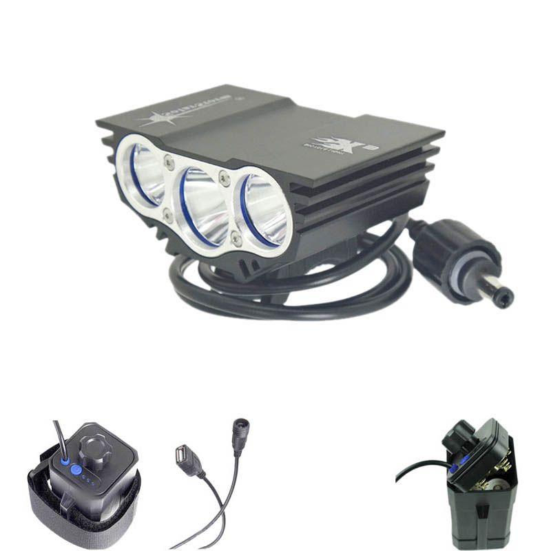 bike lights 3x XM-T6 U2 Led Head Lamp Waterproof 4x18650 Power Battery Storage Case Box(no battery) SolarStorm X3