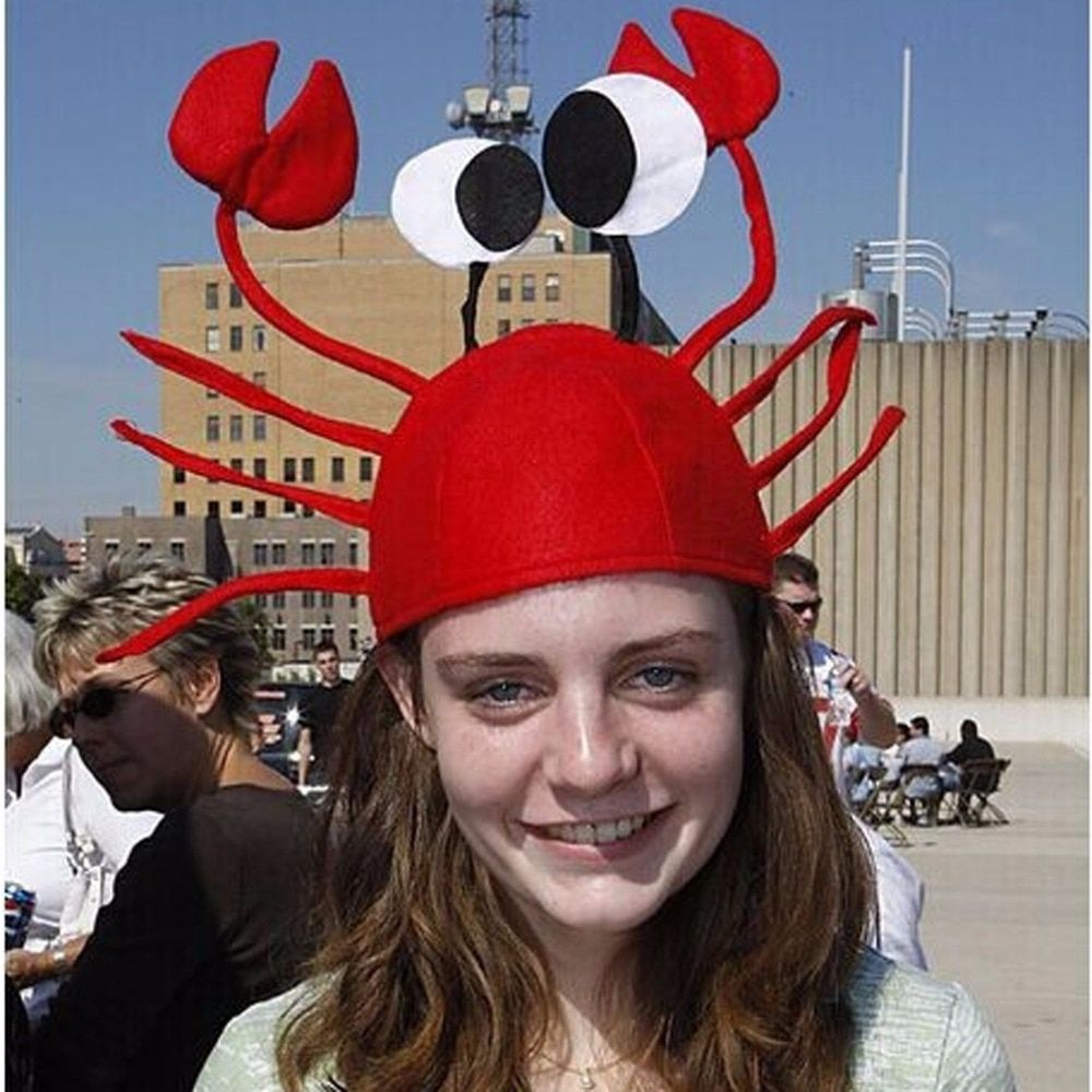 3D Red Crabs Lobster Christmas Hat Kid Adults Halloween Costume Party Anime Cosplay Funny Props Adornos Navidad 2016 Para Hogar