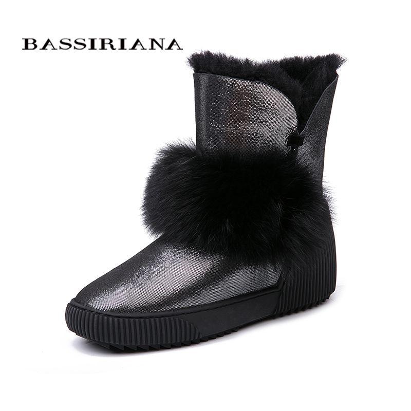 BASSIRIANA New 2018 genuine sheepskin suede warm winter snow boots shoes women increase insole fur round toe 35-40 size