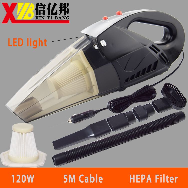 120W Portable 12V Car Vacuum Cleaner Wet And Dry   Auto Cigarette Lighter Hepa Filter