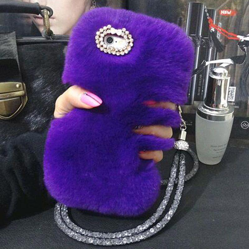 For Samsung S9 Plus Rhinestone Diamond Case+Winter Warm Wool Rabbit Hair Cover For Samsung Galaxy Note 8/S6 S7 edge S8 Plus