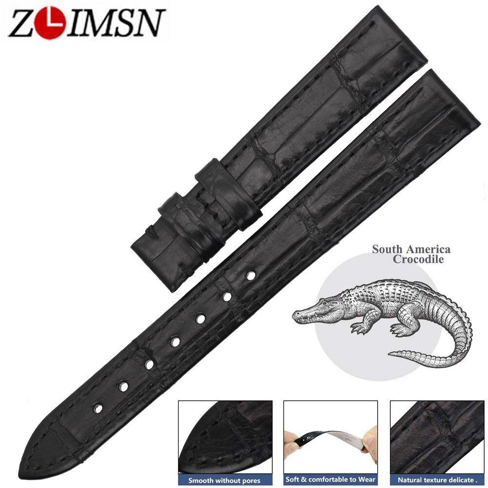 ZLIMSN High Quality Women's Genuine Crocodile Leather Watch Band Strap 14-24mm Alligator Watchband Suitable For Longines Watches