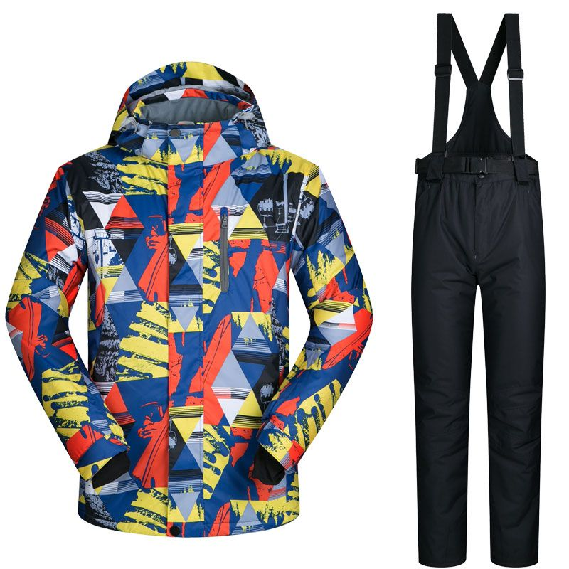 Men Ski Suit Brands Windproof Waterproof Warm LANCHE Thicken Ski Jacket And Snow Pants Sets Winter Skiing And Snowboarding Suits