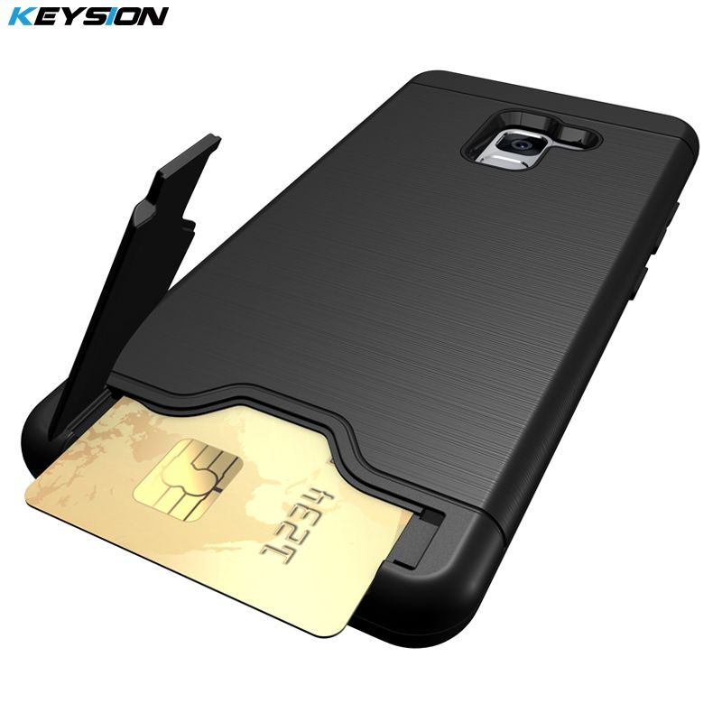KEYSION Phone Case for Samsung Galaxy A8(2018) Anti-knock PC + TPU Silicon Back Cover for A530 A8+2018 With card slot Kickstand