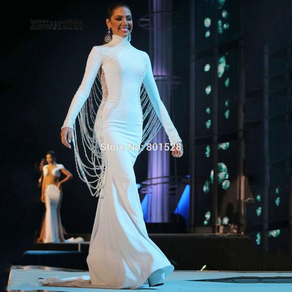 Hohe Qualität Lange Ärmeln High Neck Mit Heavy Perlen Sonder Backless Design Meerjungfrau Abendkleid Luxus Lange Prom Kleider