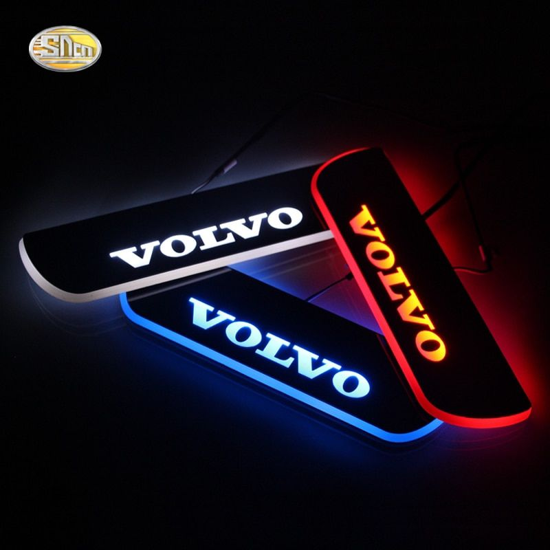 SNCN LED moving light scuff pedal for Volvo S60 2015 2016 car acrylic led door sill welcome pedal