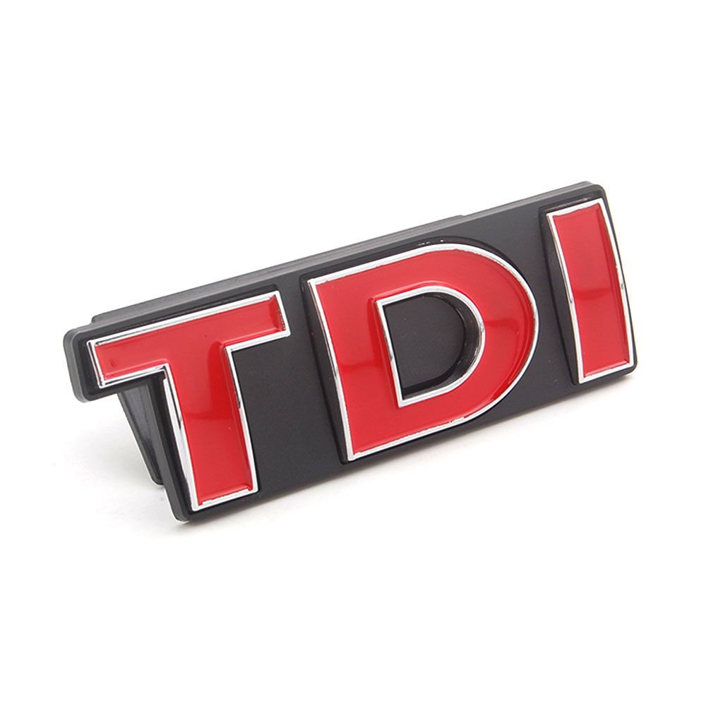 New Auto Car Chrome RED TDI Front Grille Boot Badge Emblem Fit For VW Golf Jetta Polo Car Styling Decoration Accessories