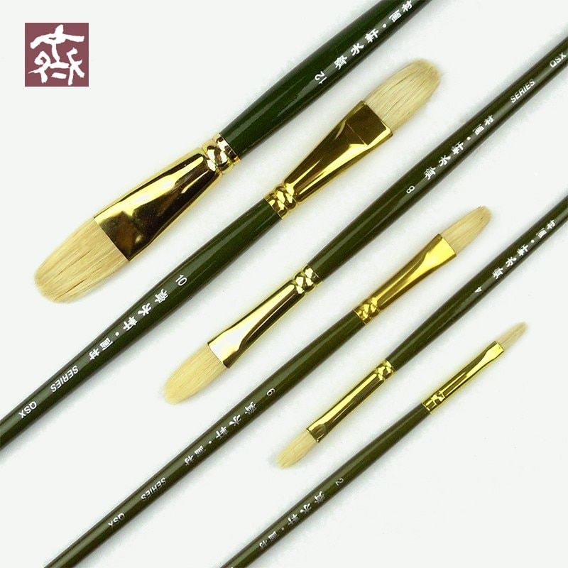 6 pièces/ensemble Qishuixuan brosse à peinture à l'huile à tête ronde et plate poils fins manche en bois Gouache acryliques pinceau fournitures d'art