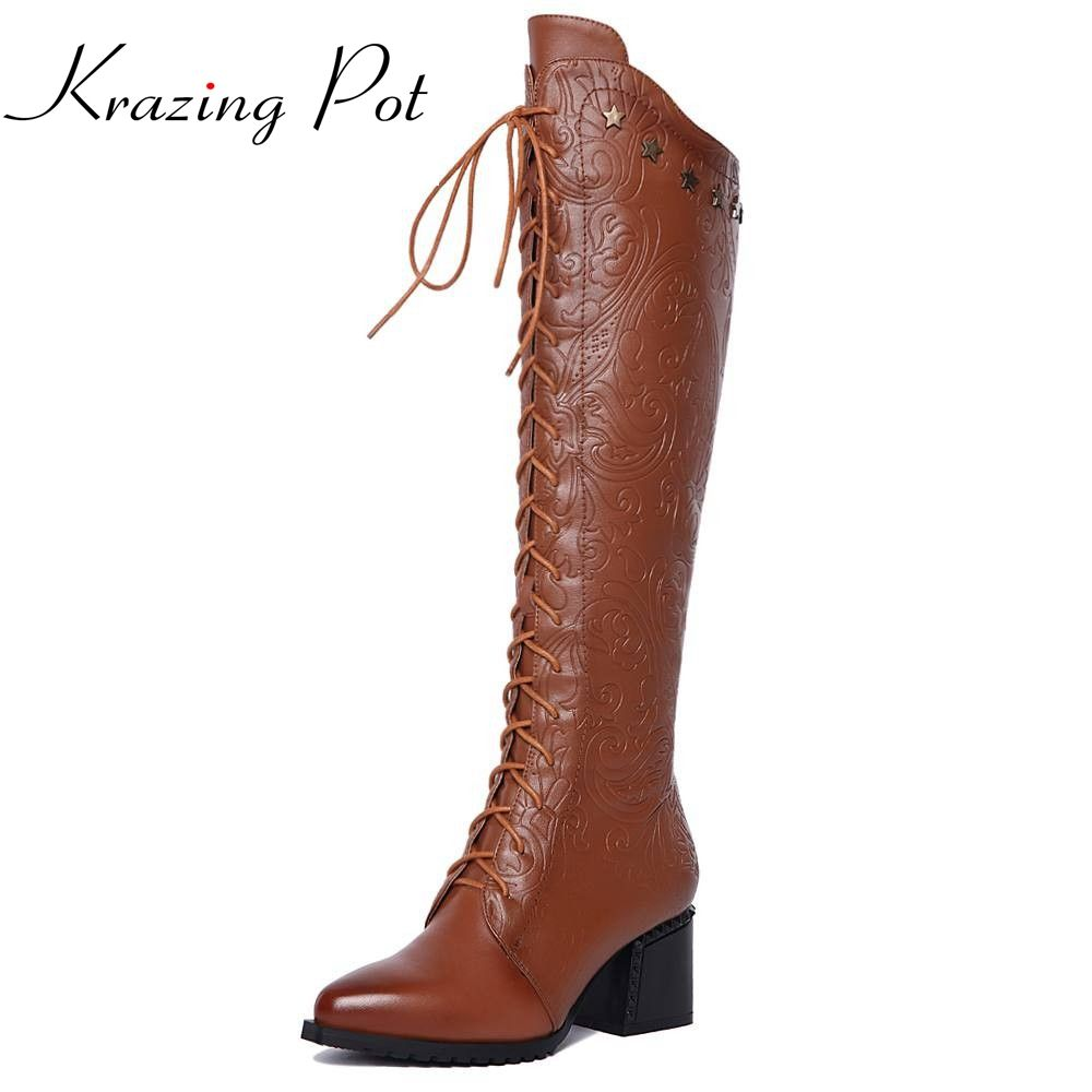 New fashion large size high quality lace-up knee-high boots print brand pointed toe women boots winter shoes warm causal boots L