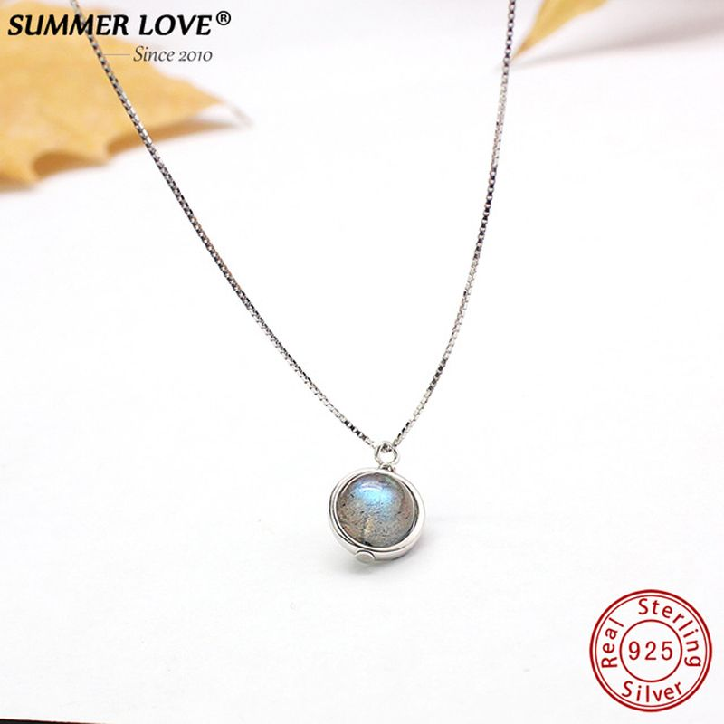 Genuine S925 Sterling Silver Labradorite Pendant Necklace For Women Fine Jewelry Nature Stone Handmade bijoux femme