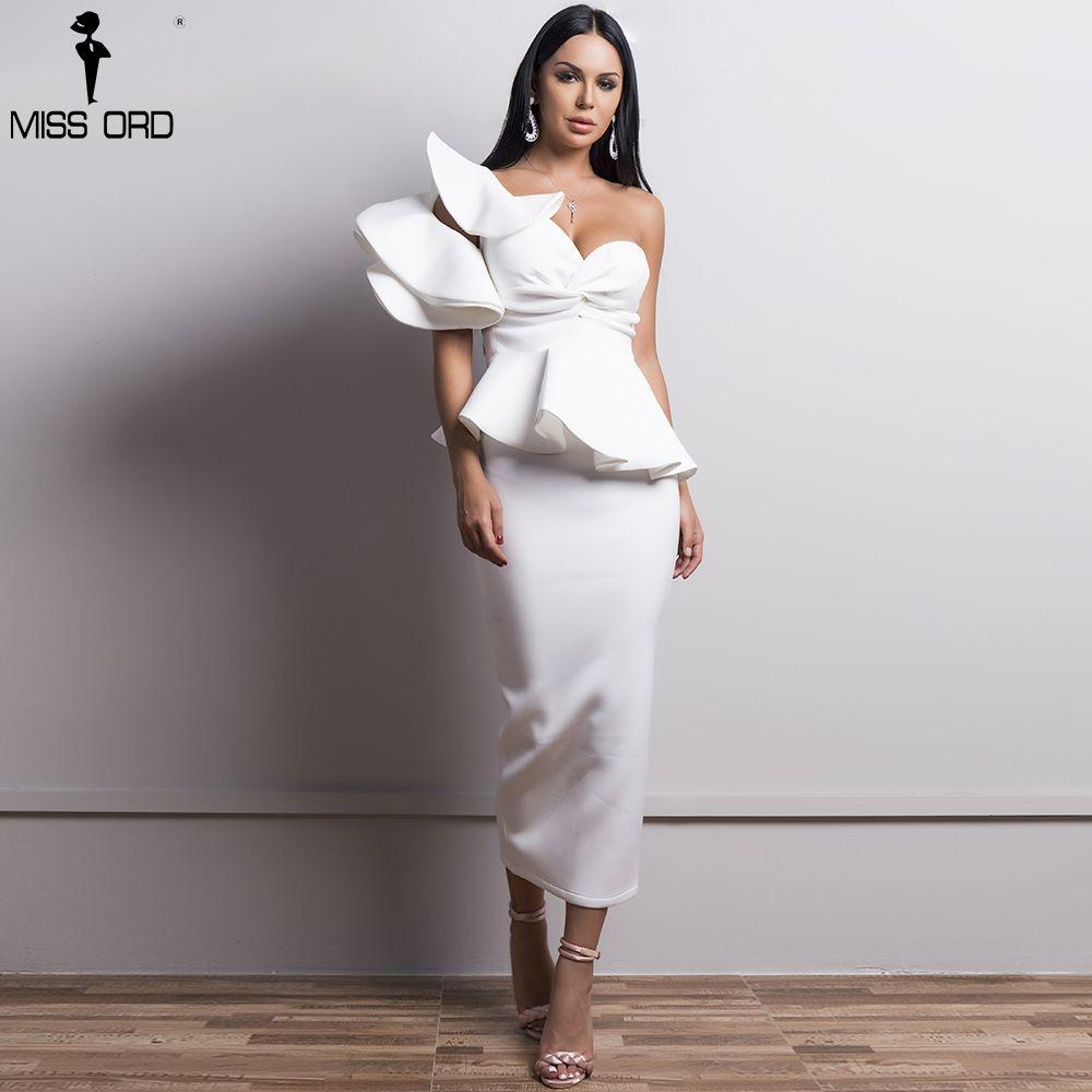 Missord 2018 Sexy Spring and Summer One-Shoulder Backless Dresses Female Elegant Ruffle Mermaid Club Dress Vestido TB0020-1