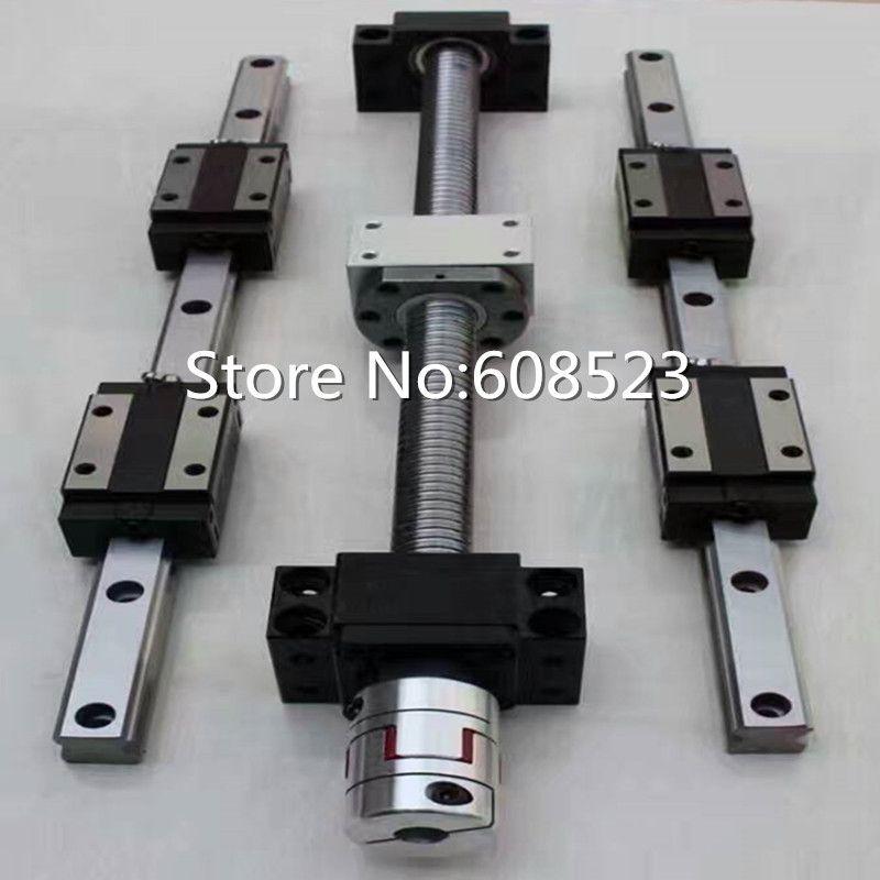 CNC set 4 pcs ballscrew sfu1605/sfu1610-400/700/1000/1000mm +12 HBH20CA Square Linear guide sets + bk12 bf12+4pcs shaft  Coupler