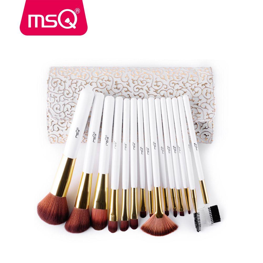 MSQ 15 pièces Mode Pinceaux De Maquillage Pro De Haute Qualité Pinceaux De Maquillage Kits Avec Étui En Cuir PU Cosmétique Outils De Beauté Brosse