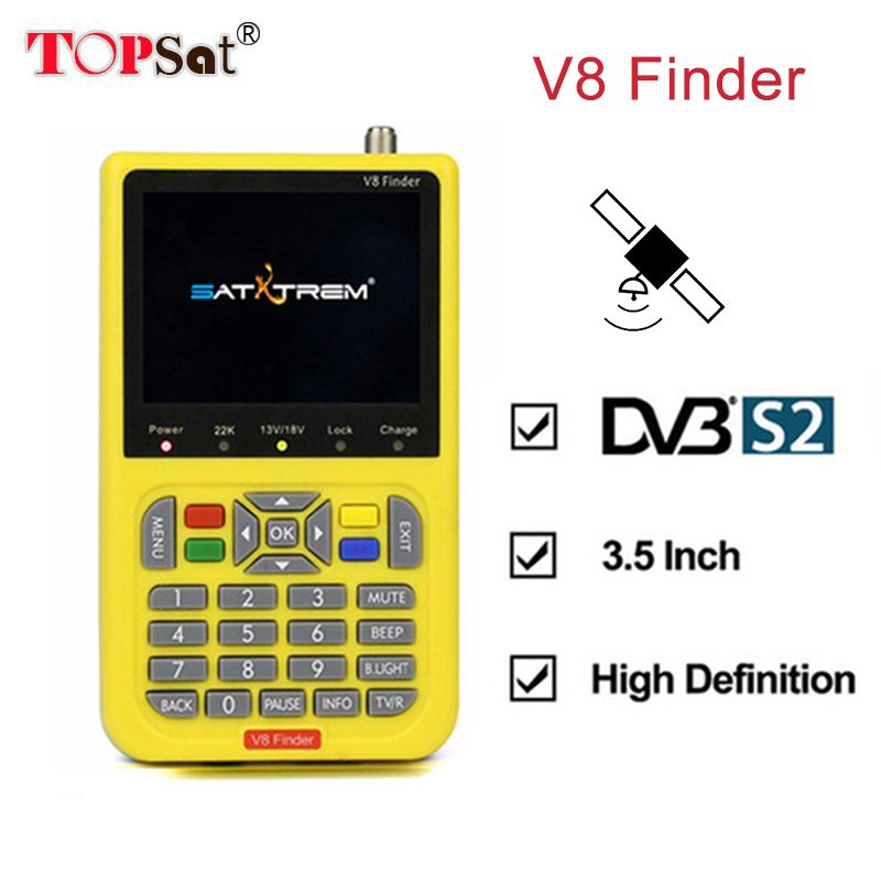 V8 Finder DVB-S2 High Definition Digital Satellite Finder MPEG-4 DVB S2 Satellite Meter Full 1080P whit 3000mA FTA Sat finder