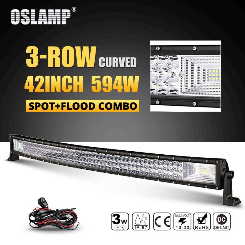 Oslamp 594 watt 42 zoll 3-row Curved LED Licht Bar Offroad Combo Strahl Führte Arbeit Licht Lampe 12 v 24 v Lkw SUV ATV 4WD 4x4 Led Bar Licht
