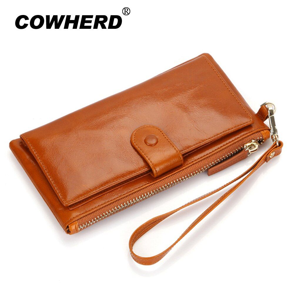 Best Quality! Women Oil Wax Genuine Cowhide Leather Long Zipper Wallet Lady Fashion Clutch Purse Bag With Strap 7 colors 2153