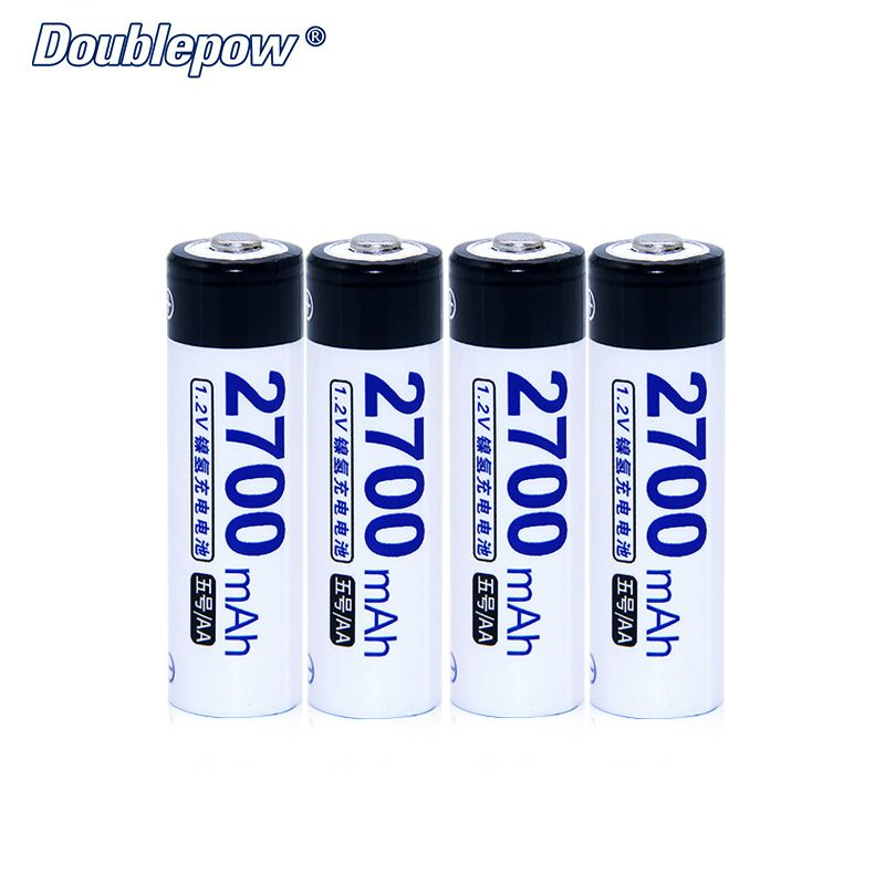 <font><b>4pcs</b></font>/Lot Doublepow DP-AA2700mA 1.2V Ni-MH Rechargeable Battery in Actual High Capacity of 2700mA Battery Cell FREE SHIPPING