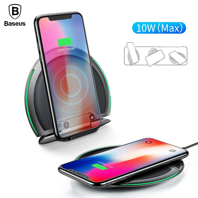 Baseus 10W Qi Wireless Charger For iPhone X 8 <font><b>Foldable</b></font> Three Coils Wireless Charging Pad With 1.2m Micro Cable For Samsung S9 S8