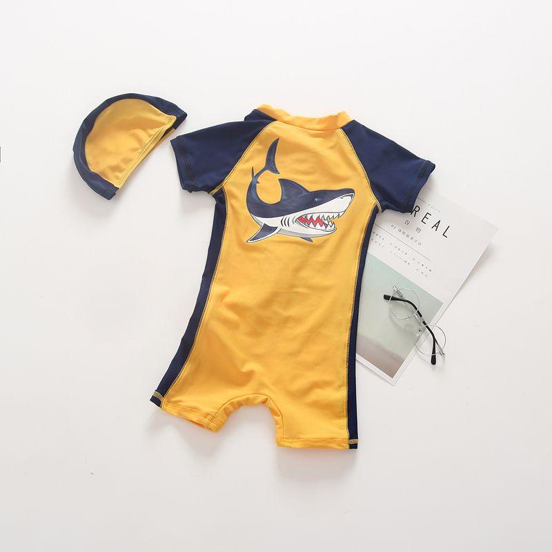 2018 mode Baby Jungen Badeanzug Ein Stück Overall Bademode Badeanzüge Shark Drucken Jungen Schwimmen Kleidung für kleiner junge 0-4Y