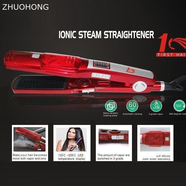 professional Steam hair straightener flat iron electric fast Straightening Iron Ceramic titanium plate straightening 220-240v