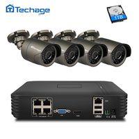 Techage 4CH 1080 P POE NVR комплект безопасности Камера Системы 720 P/960 P/1080 P открытый IP CCTV Камера P2P видеонаблюдения Системы комплект