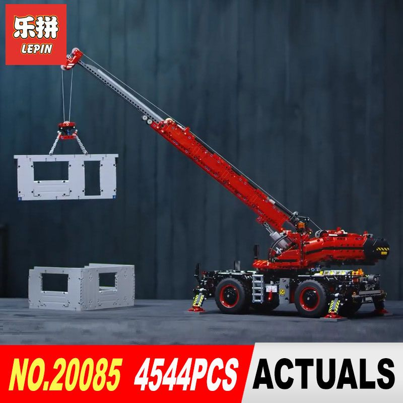 Lepin 20085 Technic Series Rough Terrain Crane Compatible Legoing 42082 Building Blocks Bricks Educational Toys With Battery B