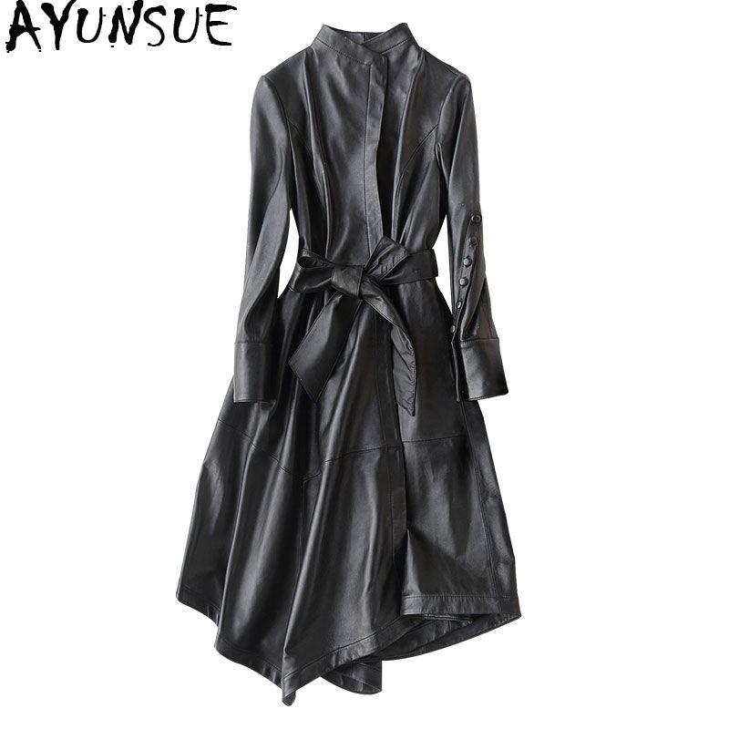 AYUNSUE Genuine Leather Jacket 2018 Real Sheepskin Coats For Women Long Trench Coat Female Spring Autumn Jackets 22291 WYQ1188