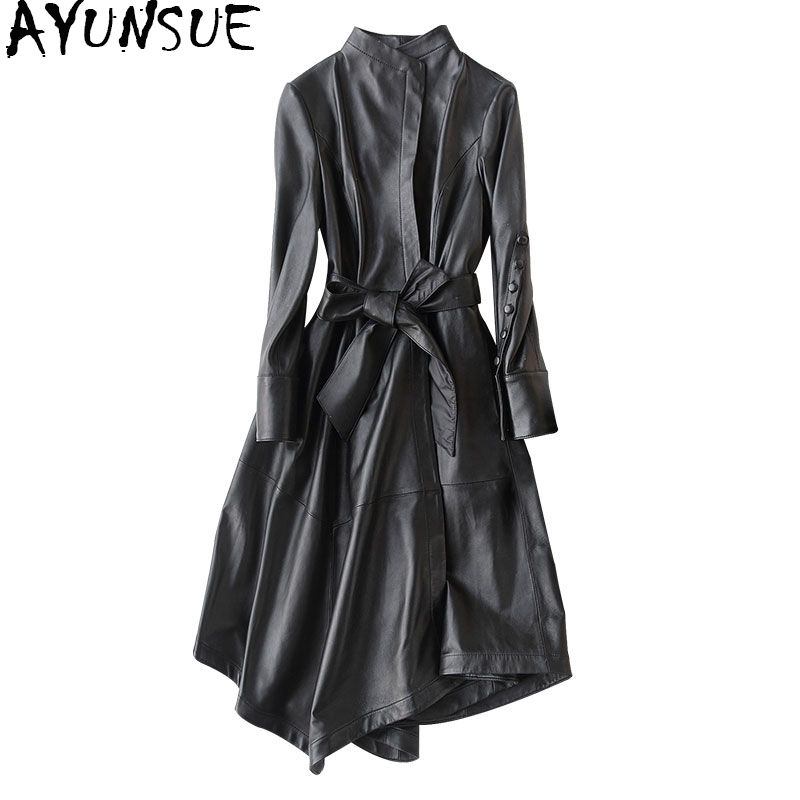 AYUNSUE Genuine Leather Jacket 2018 Real Sheepskin Coats For Women Long Trench Coat Female Spring Autumn Jackets 22291 WYQ1188
