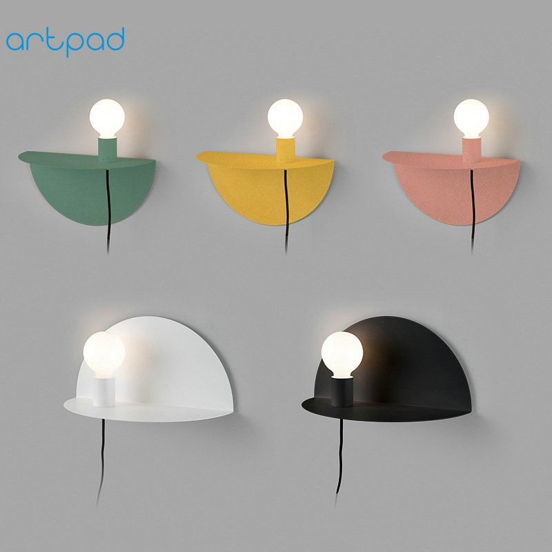 Artpad Nordic Multi Color Bedside Wall Lamp US/EU Plug in Simple Wall Lamps with Switch AC90-260V Metal Night Light for Children