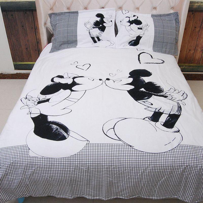 Nouveau 3.28 Mélange de Coton Ensembles de Literie Bande Dessinée Noir Blanc Mickey Mouse Lit Ensemble Housse de Couette Taie D'oreiller Lits roi, reine, taille