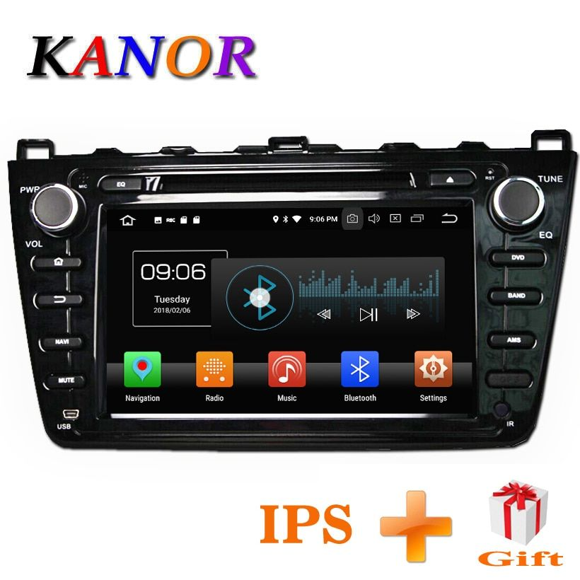 KANOR Android 8.0 4+32g 8 Core IPS 2din Car Radio For Mazda 6 Ruiyi 2008 2009 2010 2011 2012 WIFI GPS DVD Player Multimedia PC