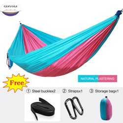 Single Double High Strength Outdoor Hammock Tree Portable Parachute Sleeping Swings Backpacking Hiking Woven Camping
