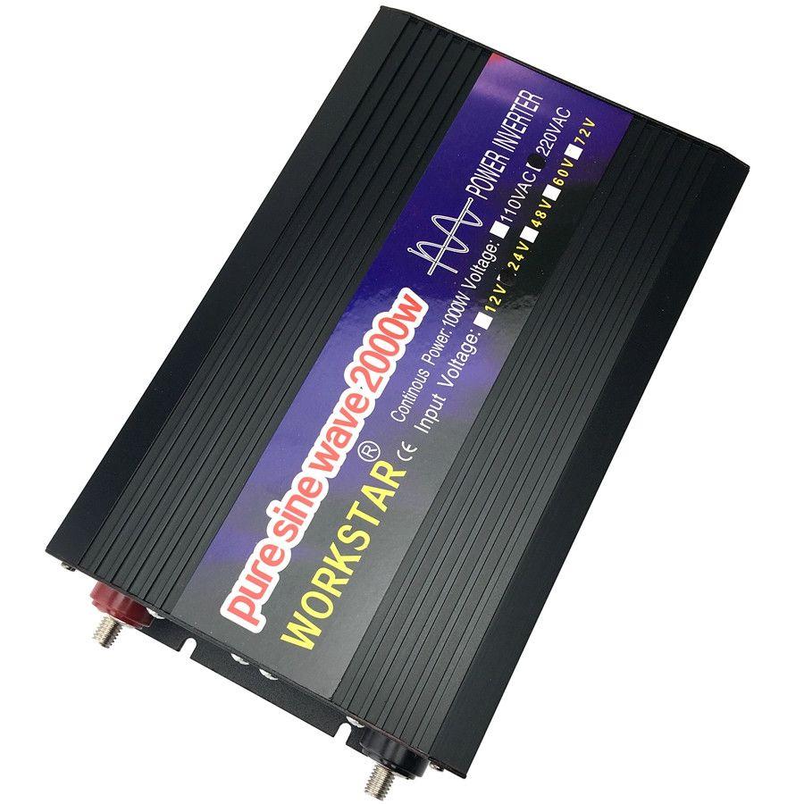 WORKSTAR Peak 2000W Pure Sine Wave OFF Grid DC/AC Inverter DC12V/24V to AC220V 50HZ/60HZ Power Inverter for Solar System