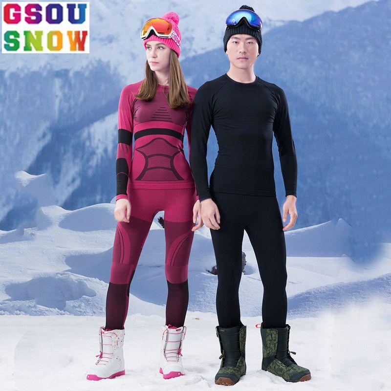 GSOU SCHNEE Marke Ski Unterwäsche Frauen Männer Lange Unterhosen Ski Anzug Quick Dry Skifahren Jacke Hosen Thermische Atmungsaktive Winter Im Freien mantel
