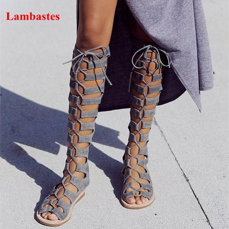 Narrow Band Lace Up Peep Toe Women Casual Cut Outs Sandals Ankle Strap Zip Up Gladiator Walkway Sandals Sexy Casual Flat Shoes