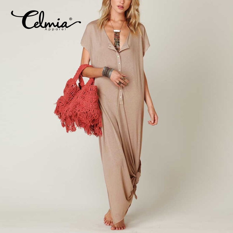 Celmia Casual Maxi Dresses Khaki Women Summer Dress 2017 New Arrivals Sexy V Neck Short Sleeve Ladies Dress Plus Size Vestidos