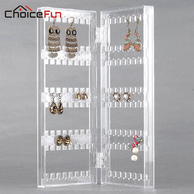 CHOICEFUN fille 2 porte maison bureau acrylique support suspendu organisateur affichage bijoux clair bijoux boucle d'oreille stockage pour bijoux