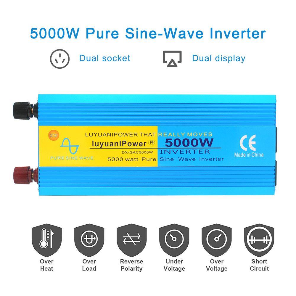 5000W Reine sinus welle Power inverte Digitalen bildschirm DC 12 V/24 V Zu AC 220V 50 HZ/60 HZ CAMPING BOOT SINUS Converter Liefern Solar