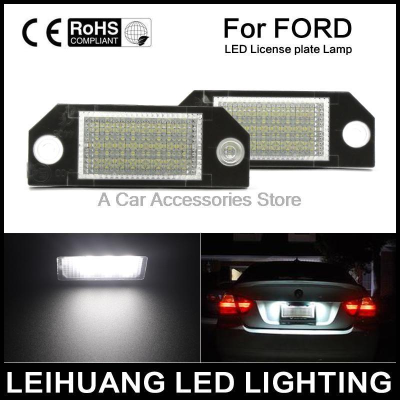 2pcs Car LED License Number Plate Light Lamp 6W 12V 24 LED White Light fit for Ford Focus 2 C-Max