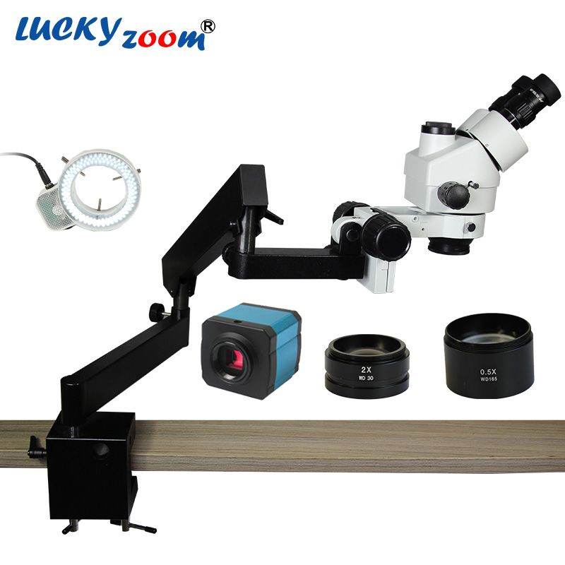 Luckyzoom Brand 3.5X-90X Trinocular Articulating Arm Pillar Clamp 144-LED Stereo Zoom Microscope 14MP HDMI microscopio Camera