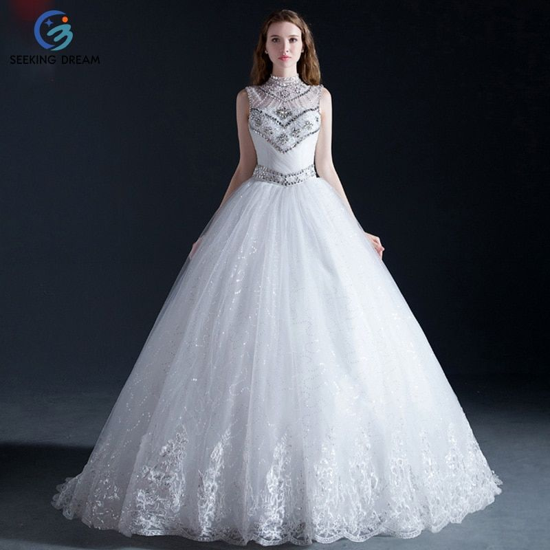 2017 Newest Off-White High Neck IIIusion Wedding Dress Ball Gown/Train Dress Flower Lace-up Pregnant Bride robe de mariage NN001