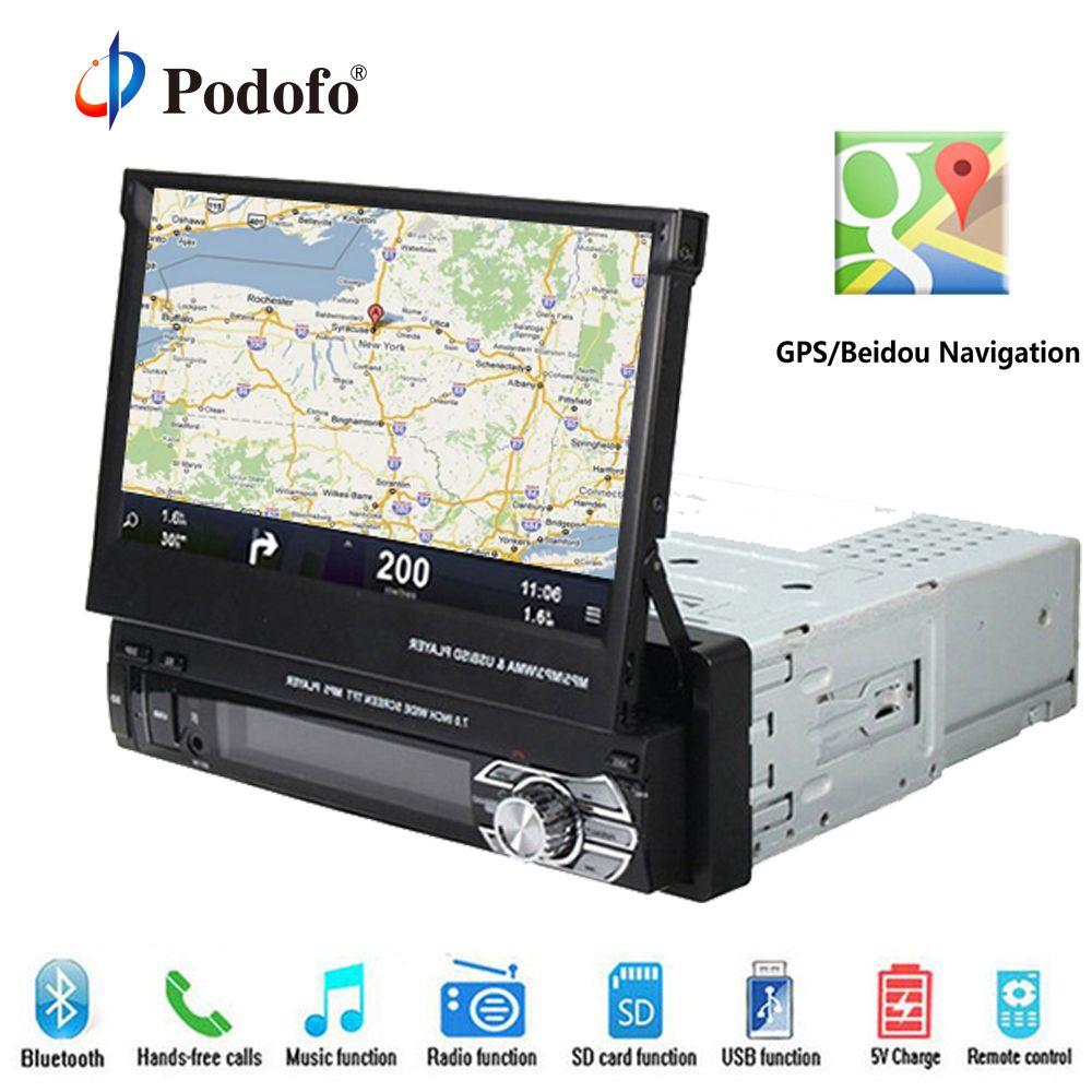 Podofo Car Radio GPS Navigation Car Stereo Bluetooth Autoradio 1 din DVD Player 7