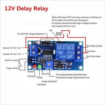 Intelligent Électronique 1 pcs Retard Relais Retard Tourner Sur/Retard désactiver Interrupteur Module avec Minuterie DC 12 V
