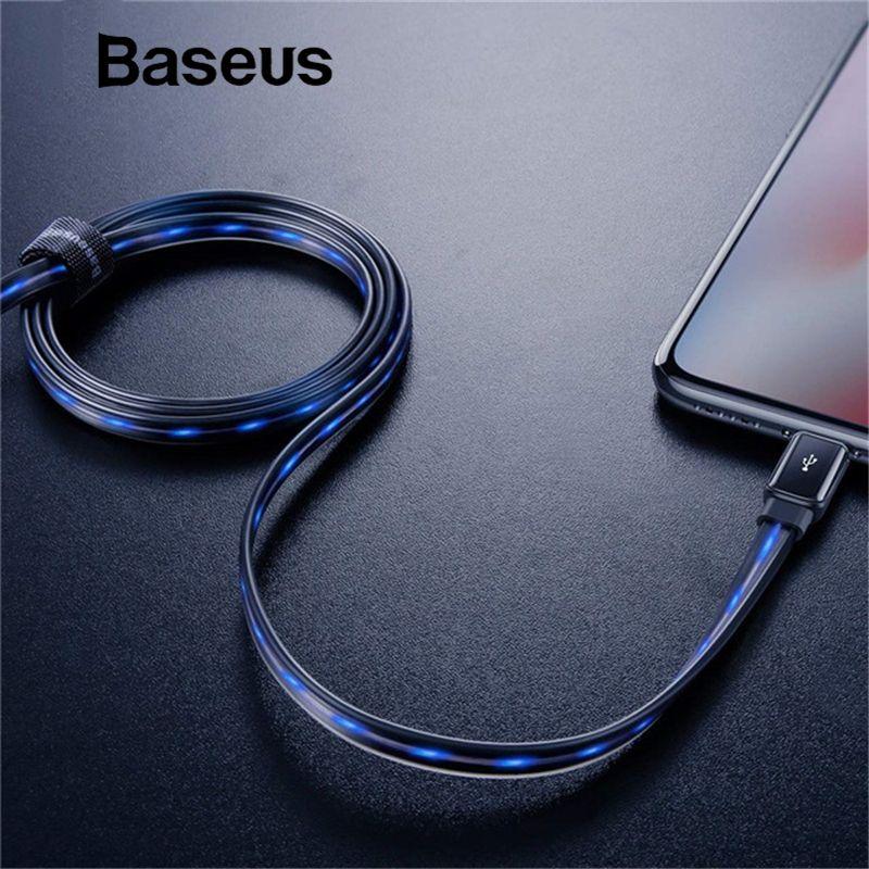Baseus Fließende LED Glowing Lade USB Daten Kabel für iPhone Kabel 8 7 6 Plus 6 s 5 s Se X iPad 1 mt 2.4A Schnelle Ladung Ladegerät Kabel