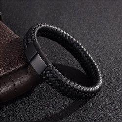 Jiayiqi Punk hombres joyería negro/Brown trenzado de cuero pulsera de acero inoxidable magnético corchete brazaletes de la manera 18,5/22/ 20,5 cm