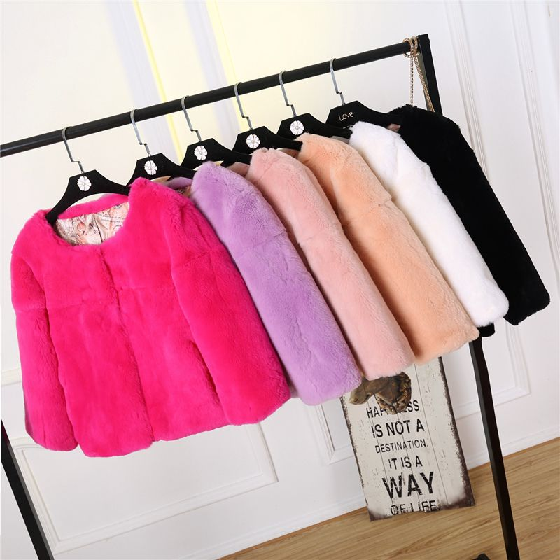 High Quality Soft Smooth Comfort Whole Skin Natural Rex Rabbit Fur Jackets Women O neck 9/10 Sleeve Real Fur Coats 2018 Winter