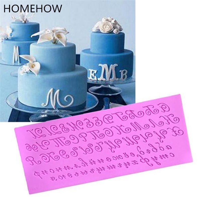 1 PC/Lot grande taille Art police Alphabet lettre Silicone moule 24.8*10.5*0.6 cm fête fournitures anniversaire gâteau décoration Silicone moule