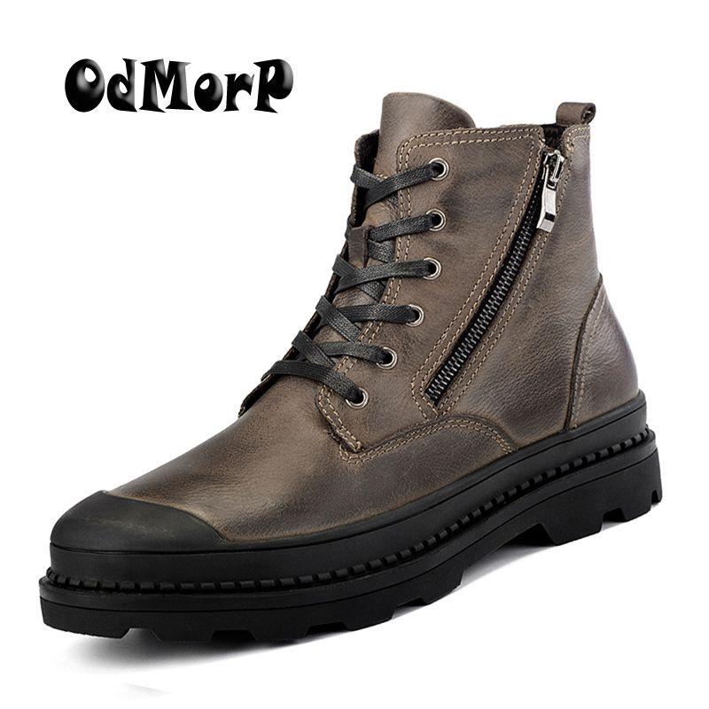 Odmorp Большие размеры в наличии 38–47 Мужские ботинки Пояса из натуральной кожи зимние ботинки Для мужчин, теплый пушистый Сапоги и ботинки для...
