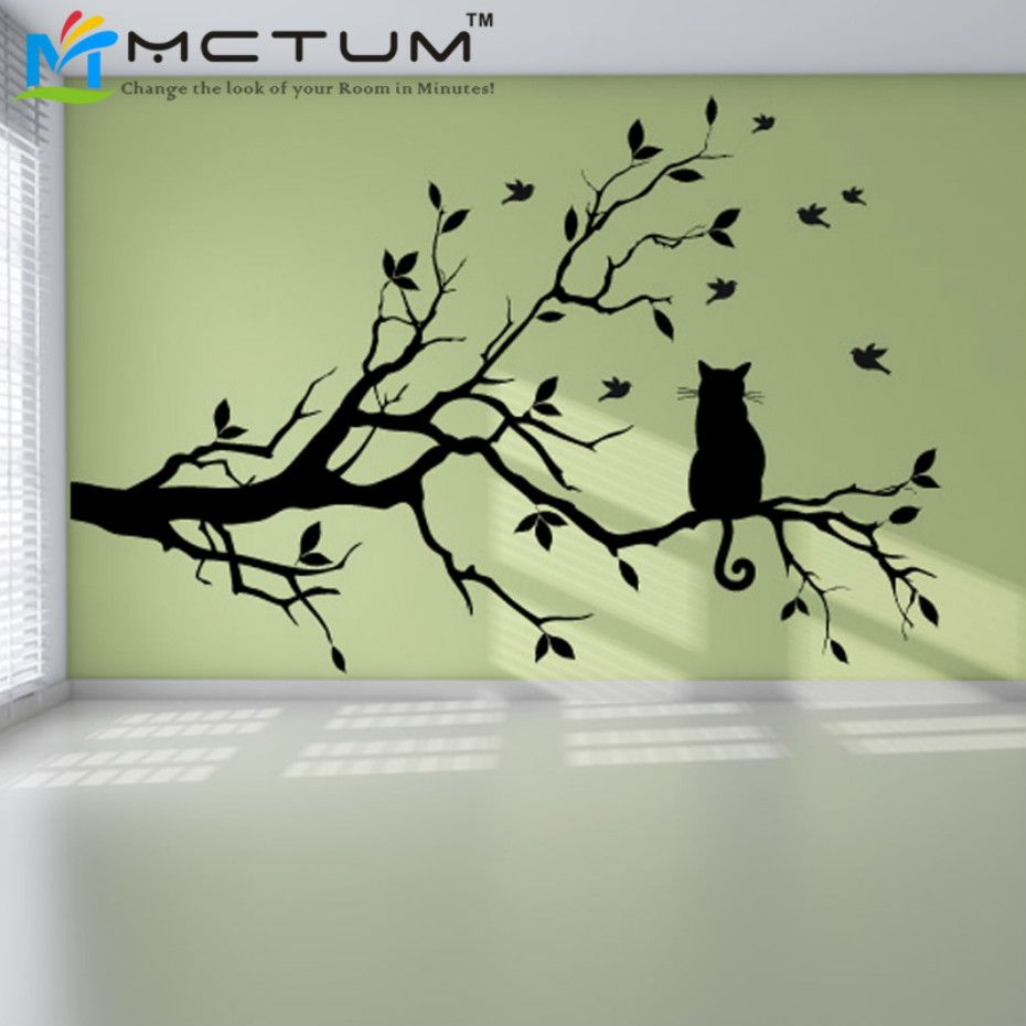 Moderne chat arbre branche Sticker mural Stickers oiseaux Animal affiche vinyle Art autocollants PVC décor à la maison salon cuisine décorations