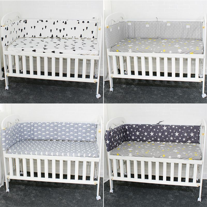 Breathable Cotton Linen Baby Crib Bumpers For Newborn Infant Cot Protector 200cm Length